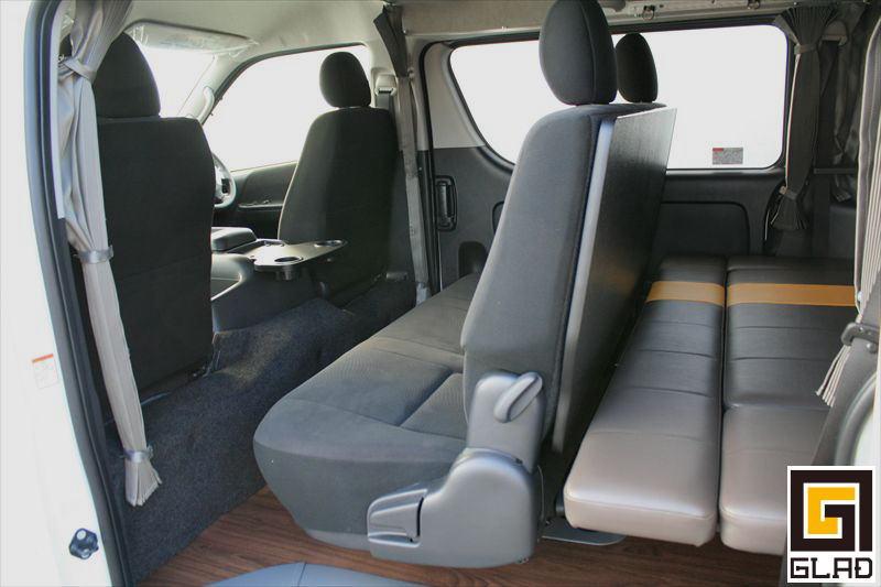 ハイエース 車中泊 キャンプ ベッドキット テーブル GLADスマートテーブルJr. 背もたれパネル