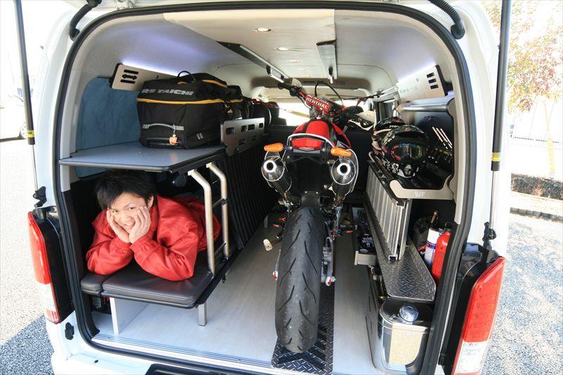 片面2段ベッドGLADステップベッド バイク積載トランポ ハイエース ベッド ソファカーゴモード