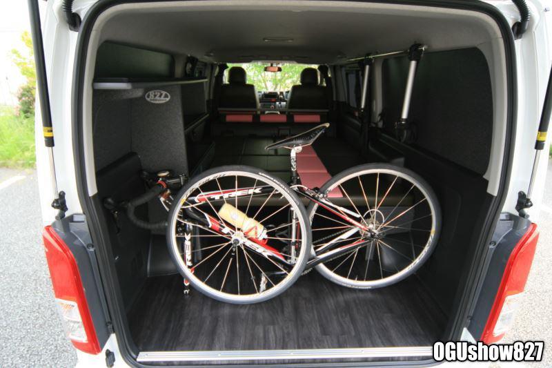ロードバイク(自転車)積載 オーダー収納棚ベッド製作 トランポ完成