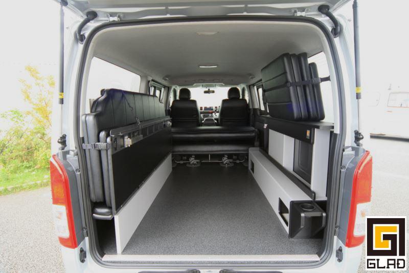 ハイエース 片面2段ベッド GLADステップベッド ベッドソファカーゴとモード展開できる可動式ベッド