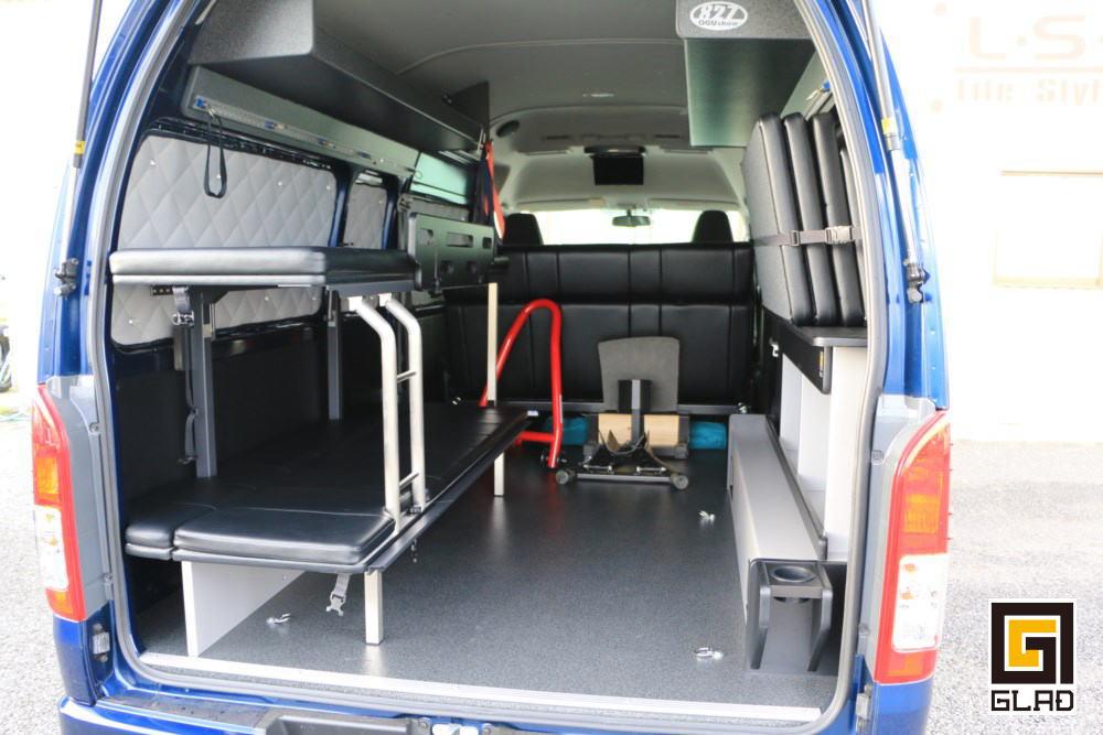 ハイエース ロードバイク積載 片面2段ベッド ソファ ベッド格納 トランポ