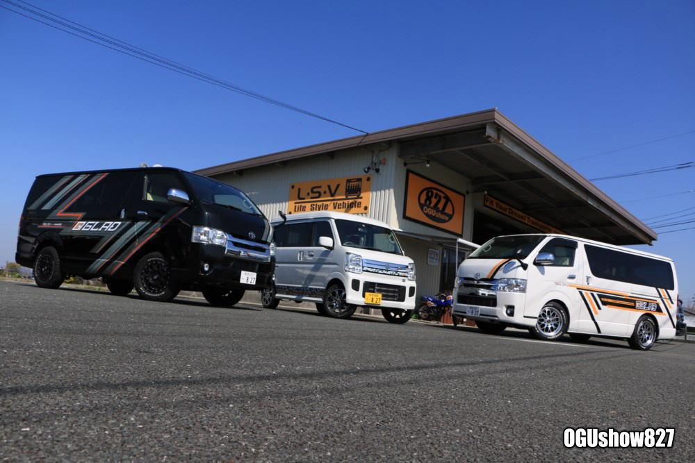 オグショー827オリジナルブランド GLADデモカー店頭展示中! 九州熊本のトランポ専門店オグショー827
