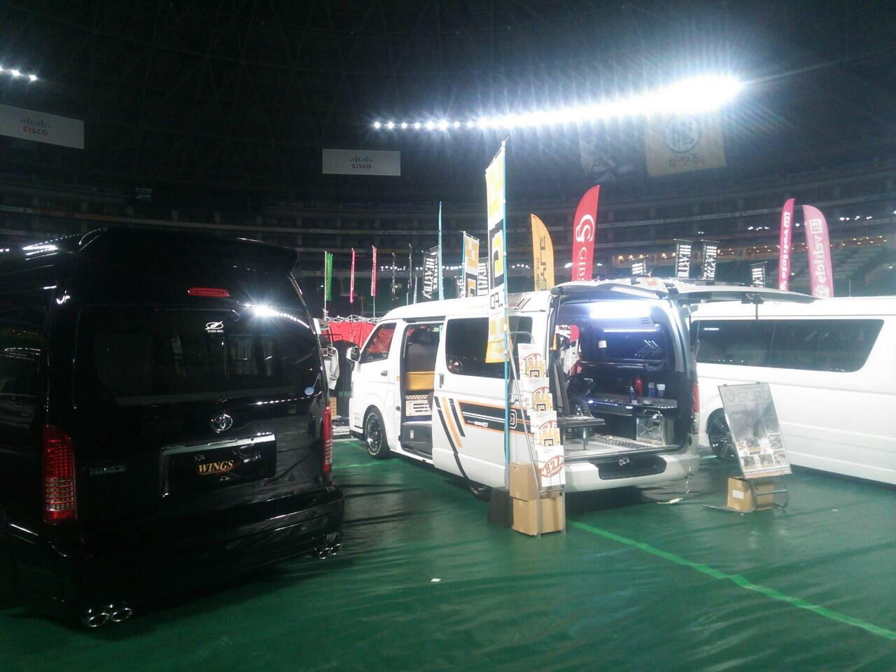 福岡カスタムカーショー2015 オグショー827よりGLADデモカー出展! 片面2段ベッド「ステップベッド」搭載のバイクトランポ!