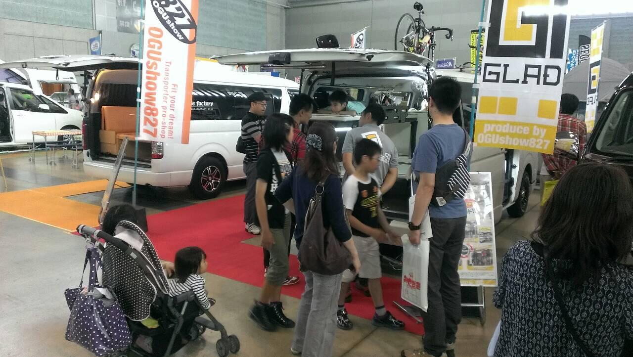 九州キャンピングカーショー2015 オグショー827からGLADデモカー出展中! 片面2段ベッド「ステップベッド」で車中泊も楽しめる!